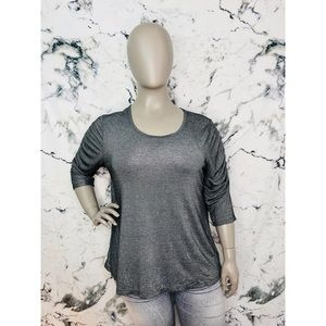 Lane Bryant Grey Sparkle Ruched Long Sleeve Shirt